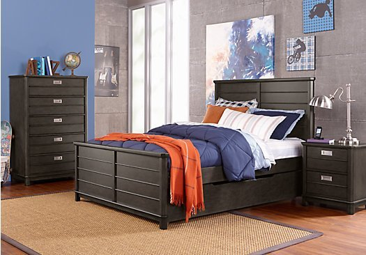 Best Bay Street Charcoal Dark Gray 5 Pc Twin Panel Bedroom With Pictures