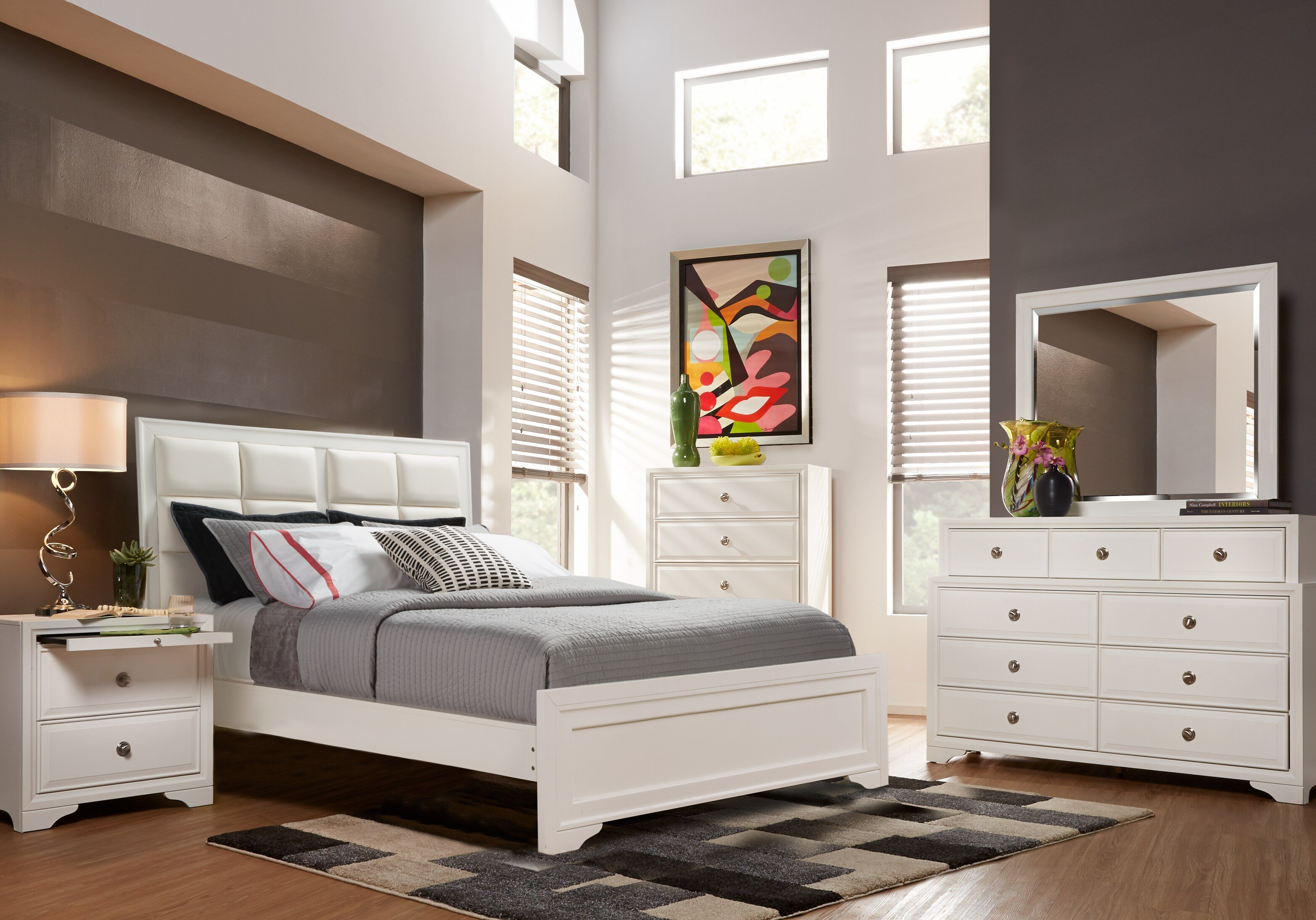 Best Belcourt White 7 Pc Queen Upholstered Bedroom Queen With Pictures