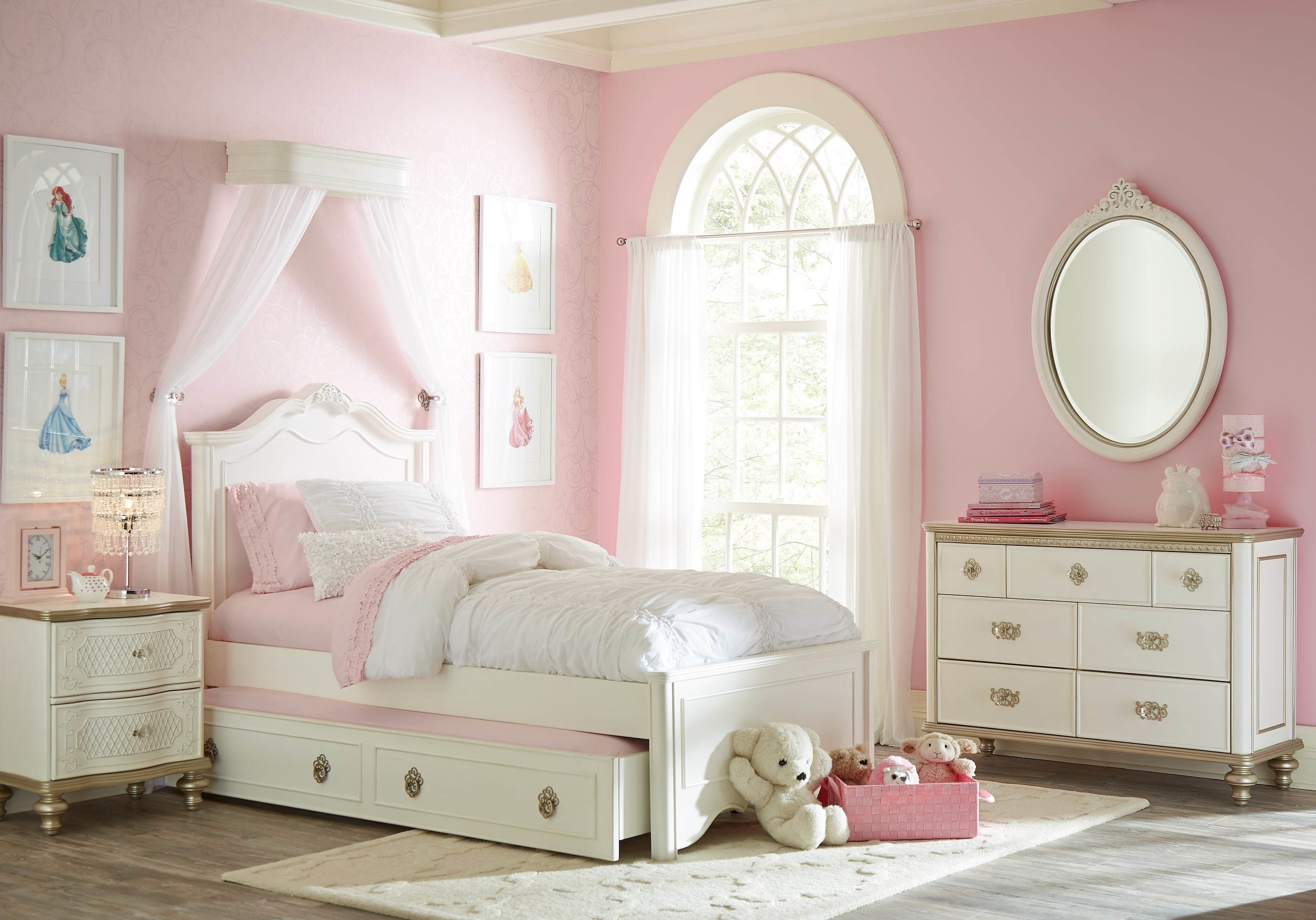 Best Disney Princess Enchanted Kingdom White 5 Pc Twin Panel Bedroom T**N Bedroom Sets Colors With Pictures