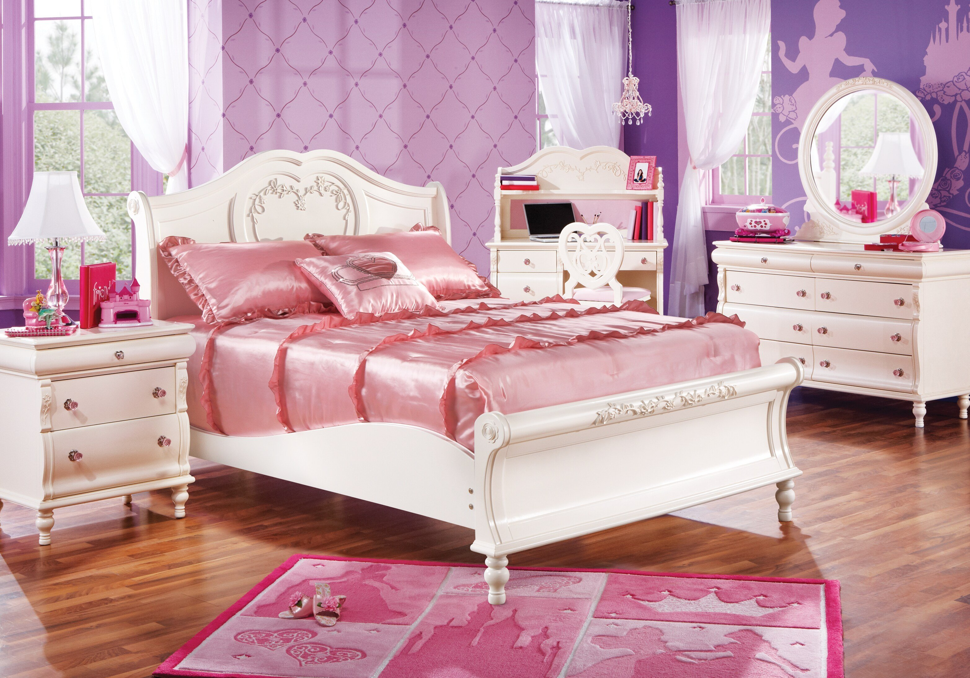 Best Disney Princess Twin Pearl 5Pc Sleigh Bedroom Disney Princess With Pictures