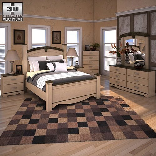 Best Ashley Olivia Bay Poster Bedroom Set 3D Model Cgtrader With Pictures