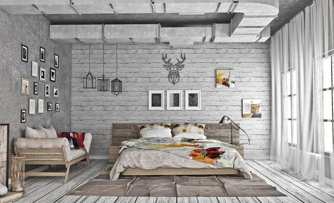 Best Loft Style Bedroom 3D Model Cgtrader With Pictures