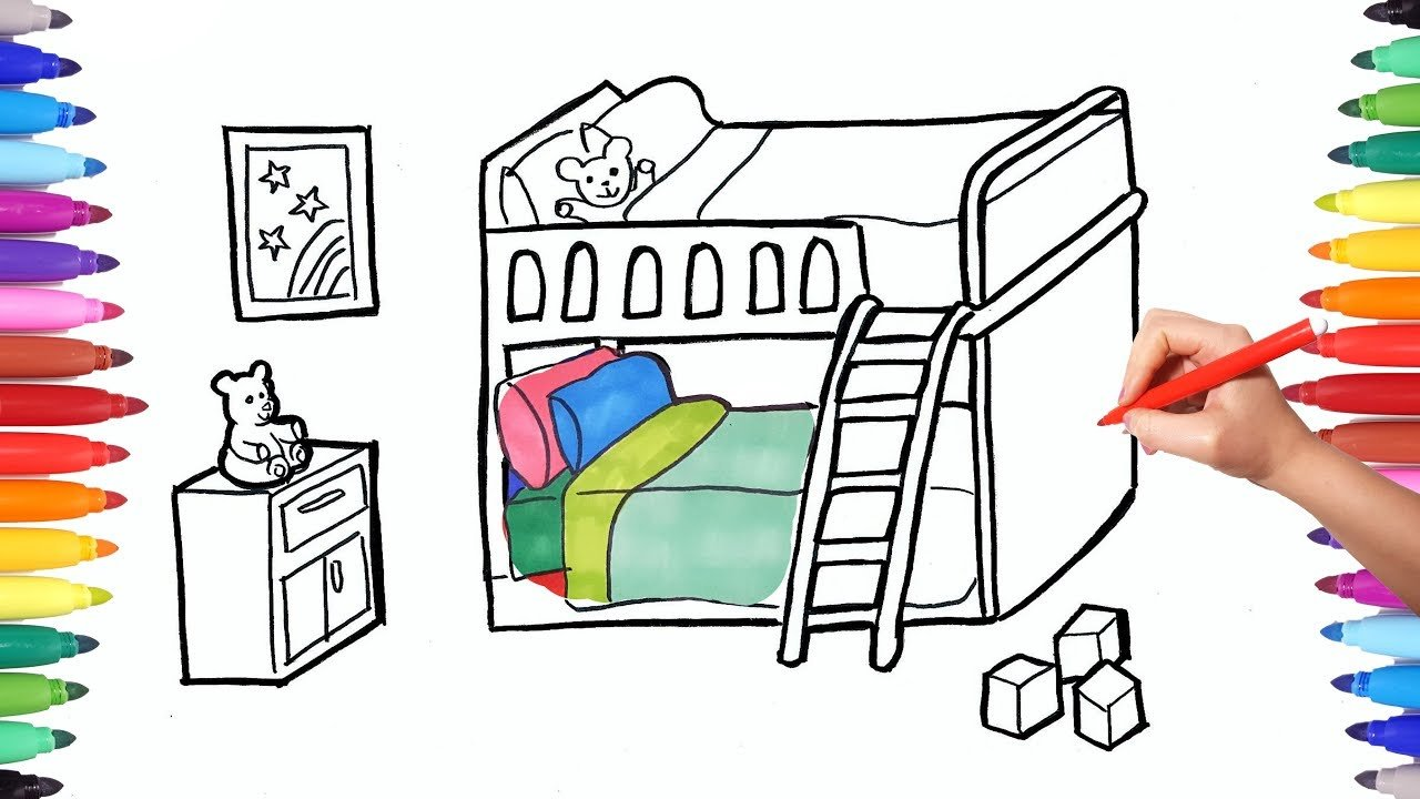 Best How To Draw A Children Bedroom With Bunk Bed Drawing And With Pictures