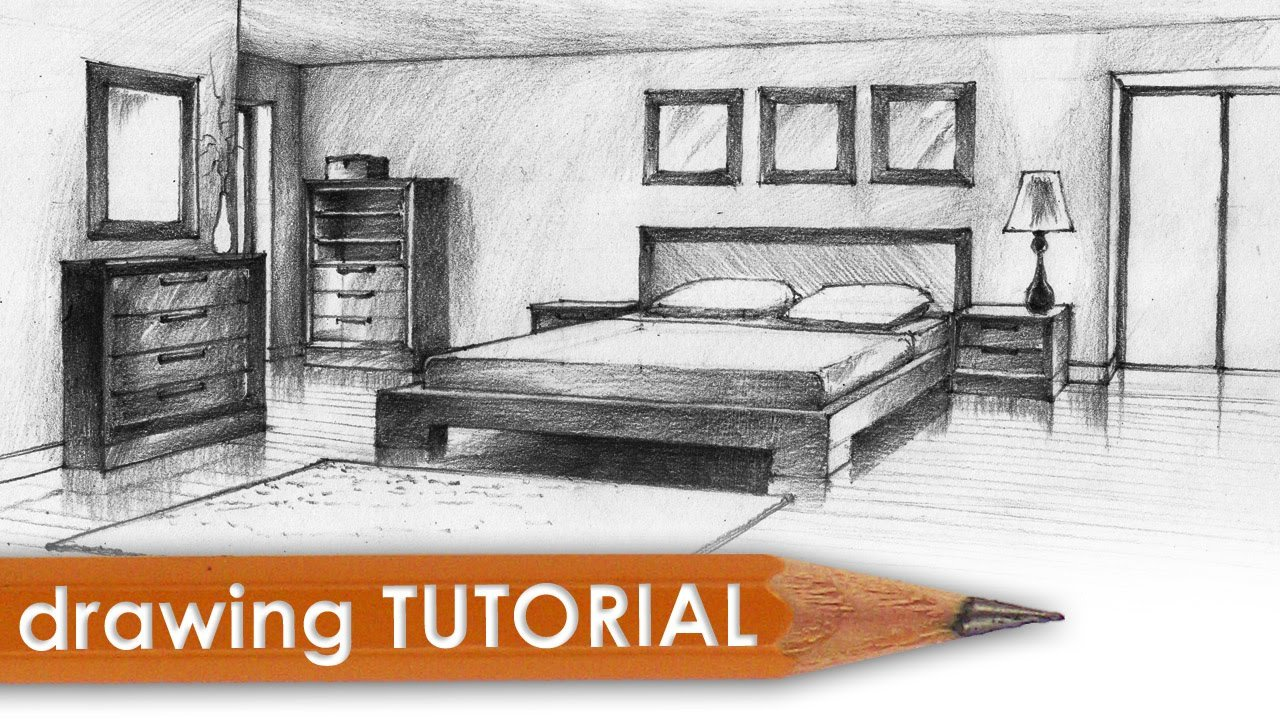 Best Drawing Tutorial Room In Two Point Perspective Bedroom With Pictures