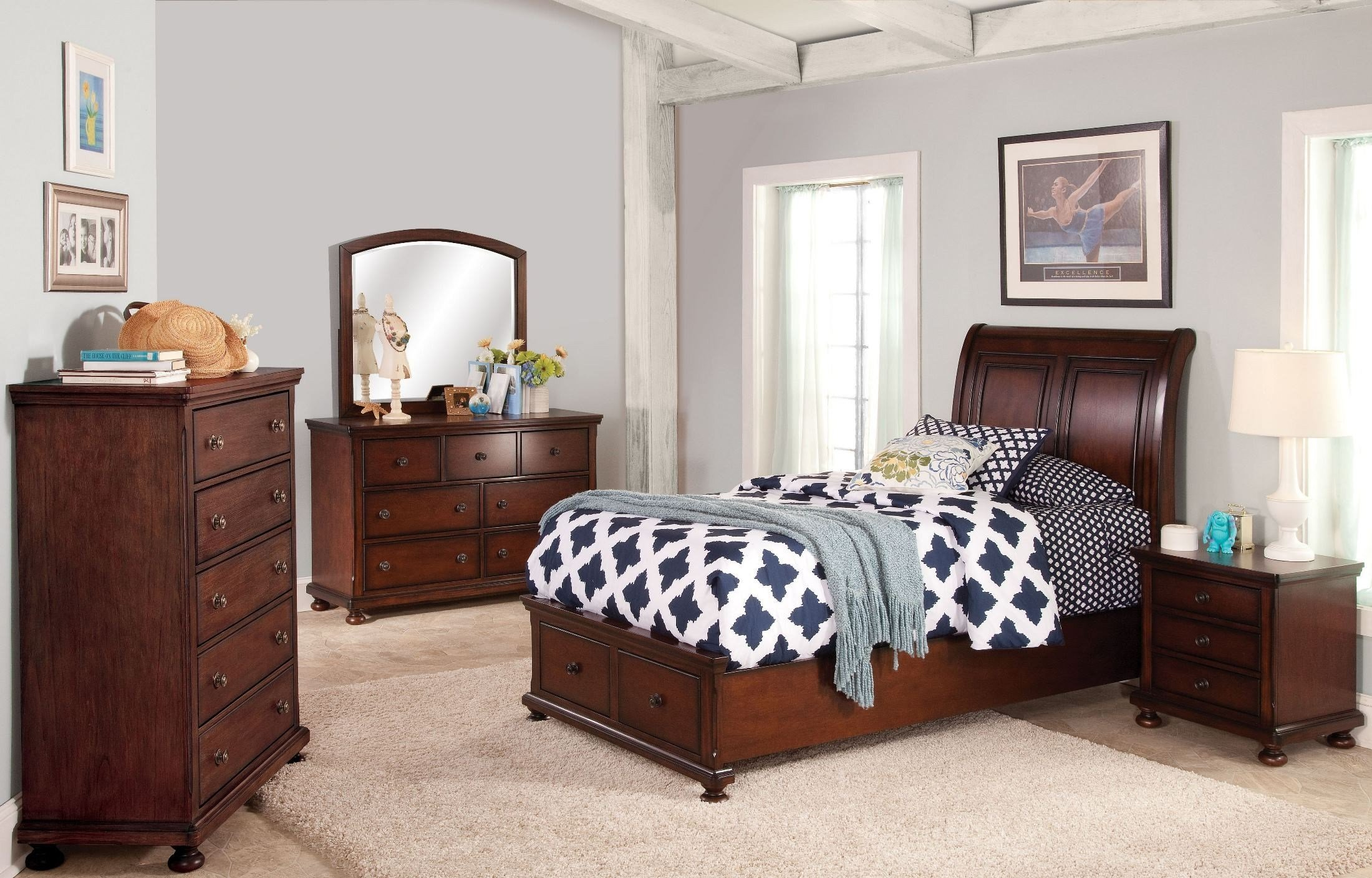 Best Jesse Youth Cherry Brown Youth Storage Bedroom Set From With Pictures
