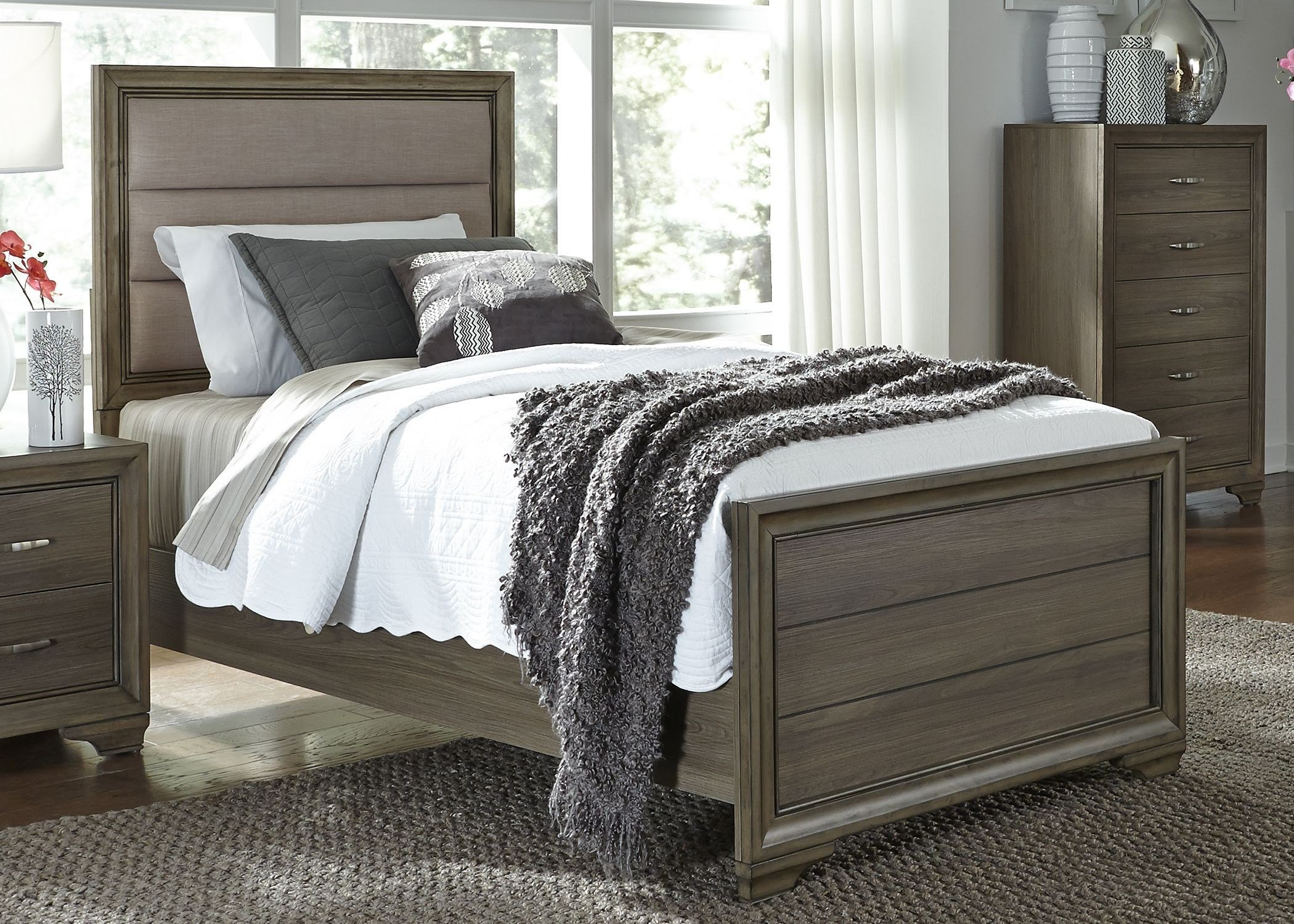 Best Hartly Gray Wash Youth Upholstered Panel Bedroom Set From With Pictures