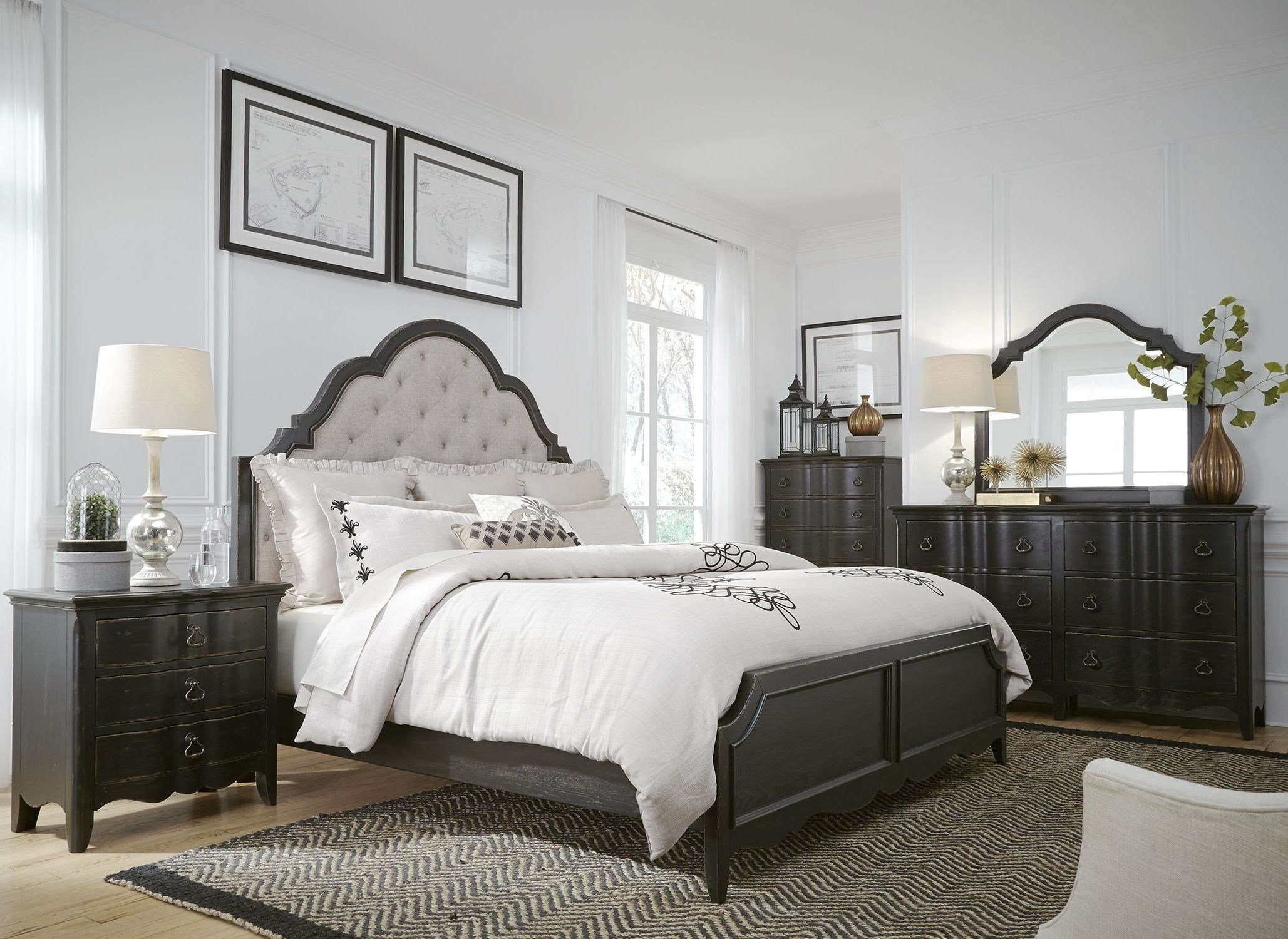 Best Chesapeake Antique Black Upholstered Panel Bedroom Set With Pictures