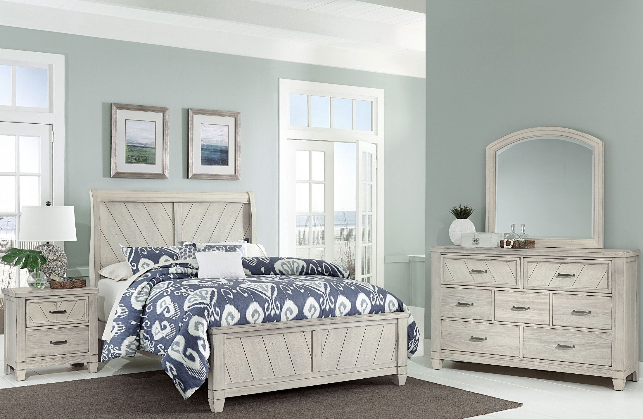 Best Rustic Cottage Rustic White Sleigh Bedroom Set From With Pictures