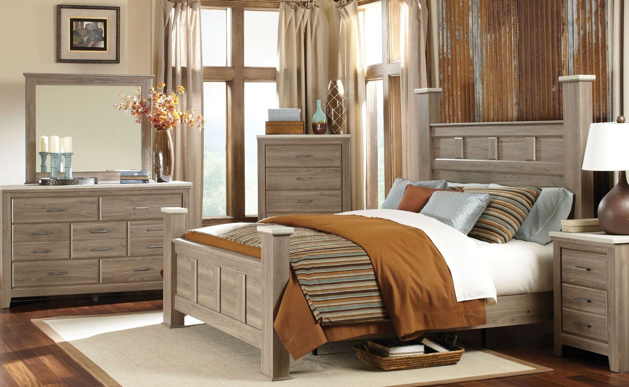 Best Stonehill Weathered Oak Poster Bedroom Set From Standard With Pictures