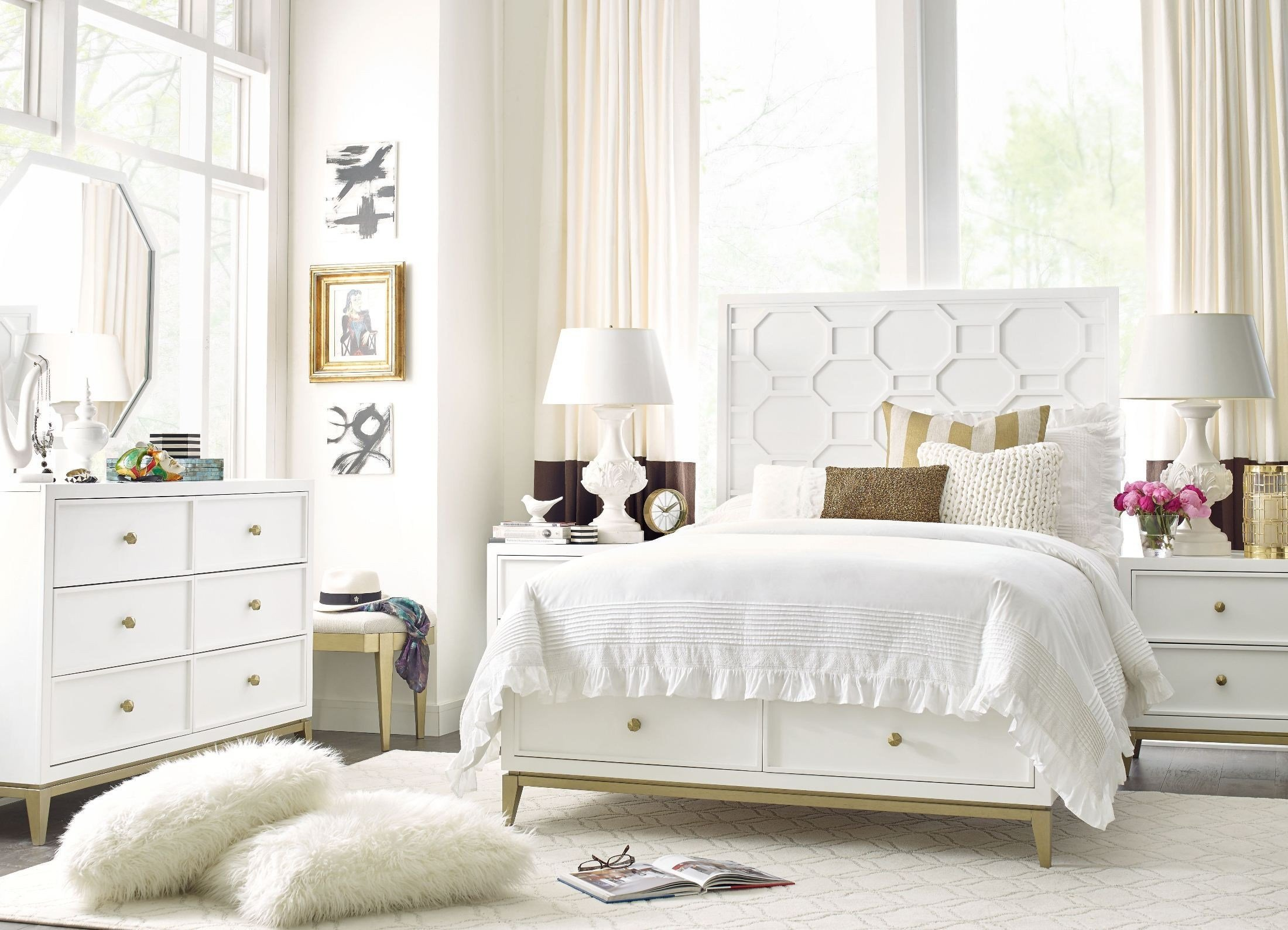Best Uptown White And Gold Youth Panel Storage Bedroom Set From Rachael Ray Home Coleman Furniture With Pictures