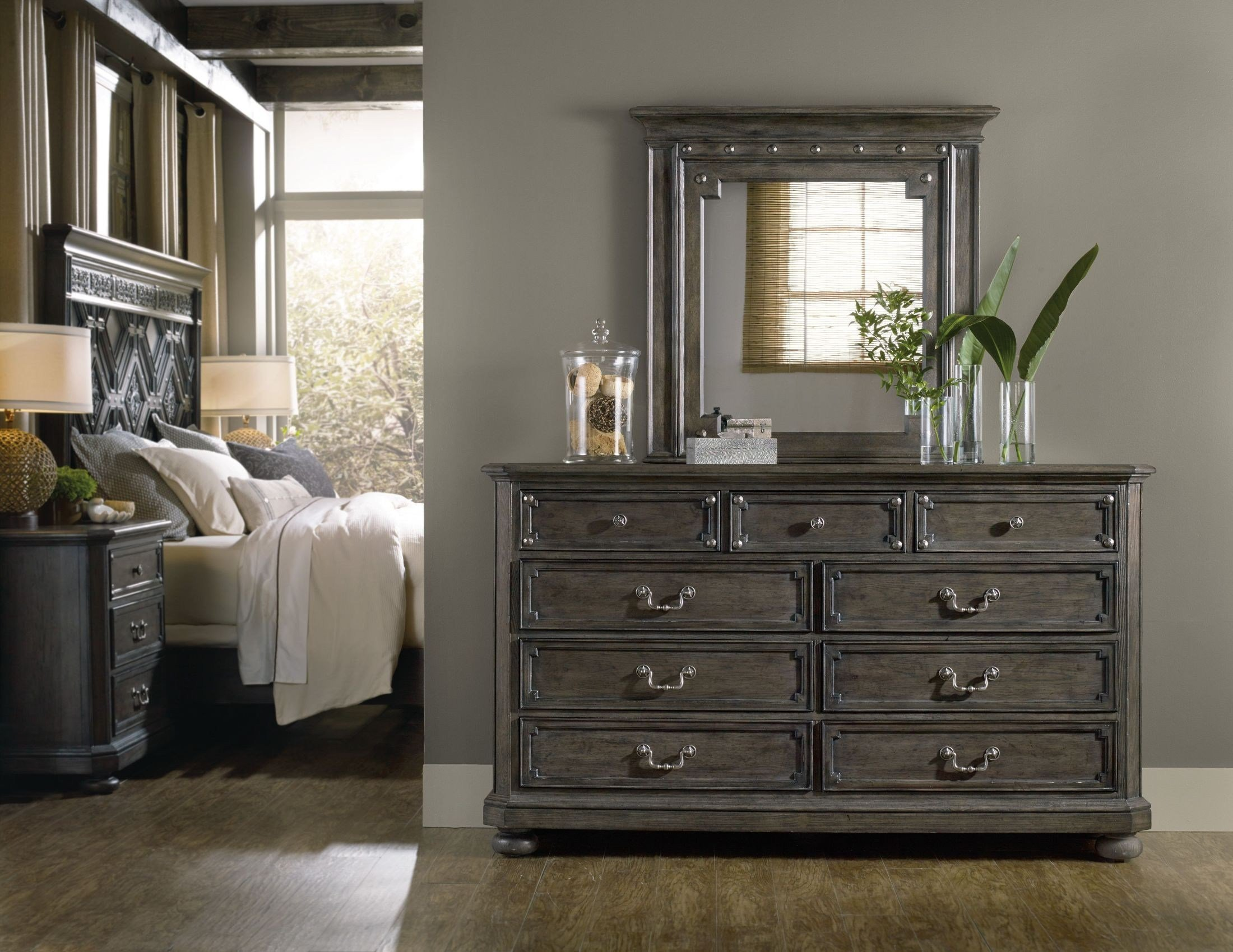Best Vintage West Charcoal Gray Wood Panel Bedroom Set From With Pictures