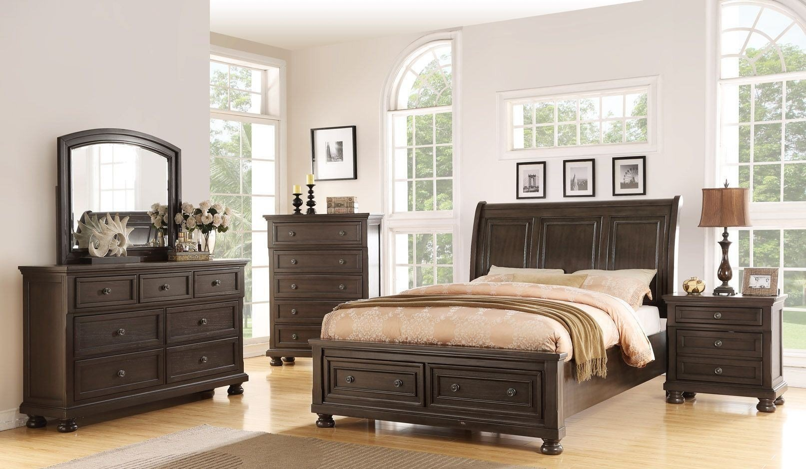 Best Soriah Distressed Gray Sleigh Storage Bedroom Set From With Pictures