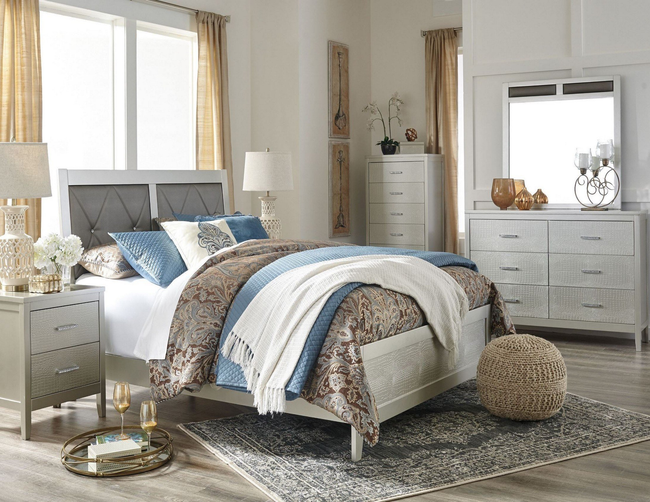 Best Olivet Silver Upholstered Panel Bedroom Set From Ashley Coleman Furniture With Pictures