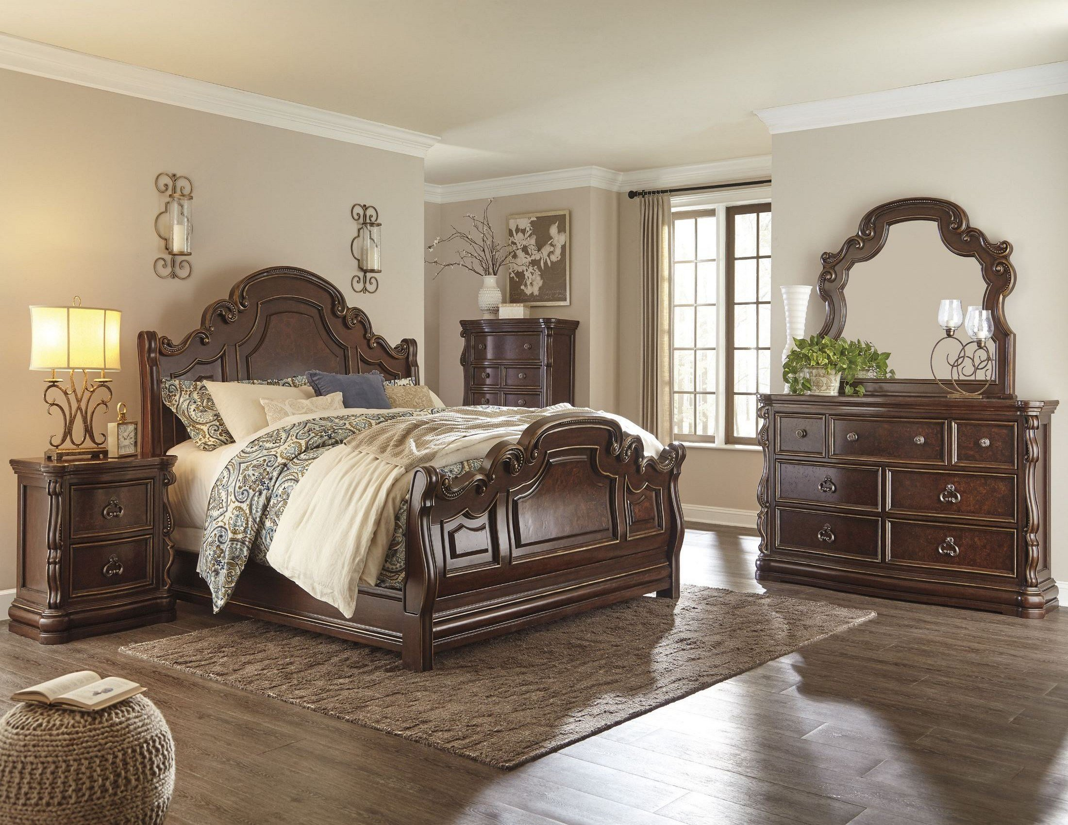 Best Florentown Dark Brown Sleigh Bedroom Set From Ashley With Pictures