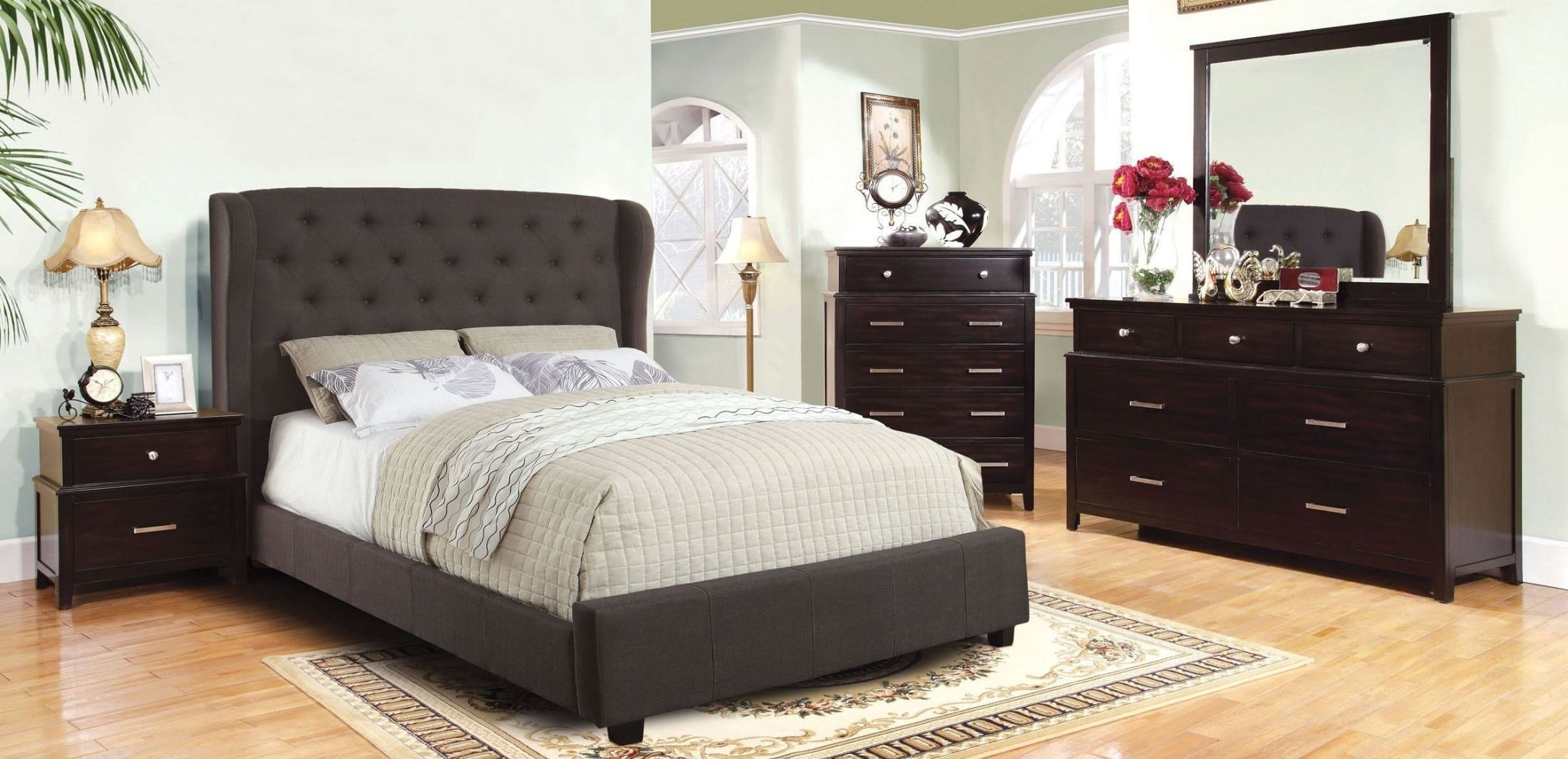 Best Fontes Gray Flax Fabric Bedroom Set From Furniture Of With Pictures