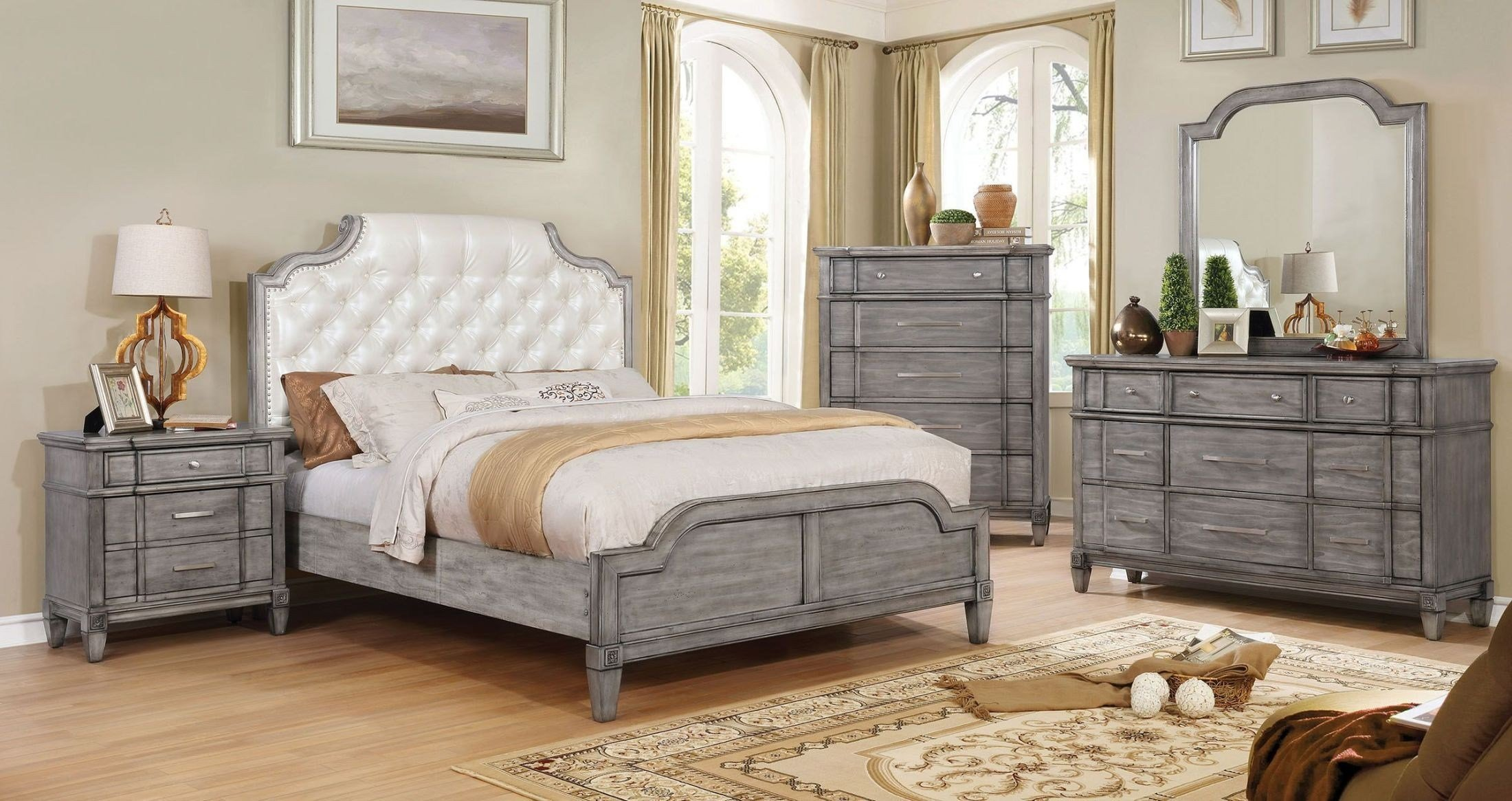 Best Ganymede Upholstered Panel Bedroom Set From Furniture Of With Pictures
