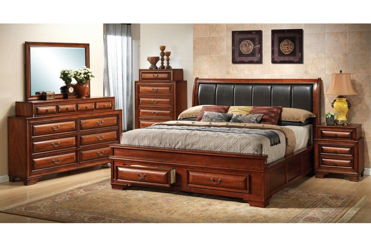 Best Bedroom Sets North Coast Cherry King Size Storage With Pictures