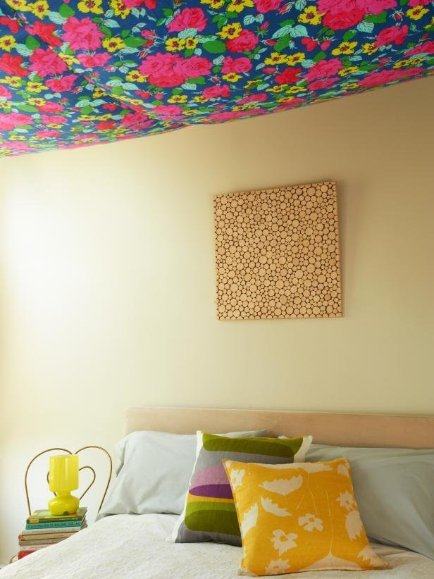 Best Hang Floral Fabric On Your Ceiling Hgtv With Pictures