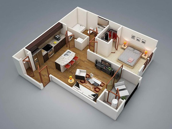 Best 20 One Bedroom Apartment Plans For Singles And Couples With Pictures Original 1024 x 768
