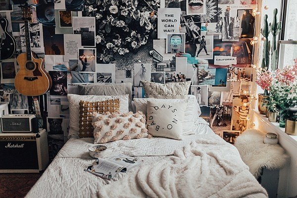 Best Bright Bedroom With Collage Wall With Pictures