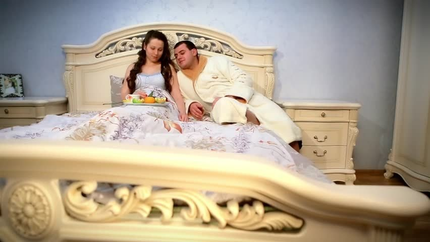 Best Happy Young Couple Eat Breakfast In Bed In Morning With With Pictures