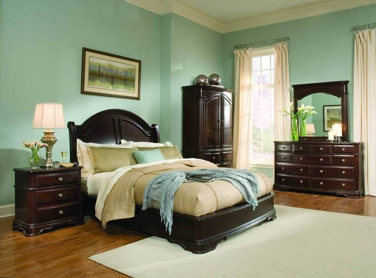 Best Light Green Bedroom Ideas With Dark Wood Furniture With Pictures