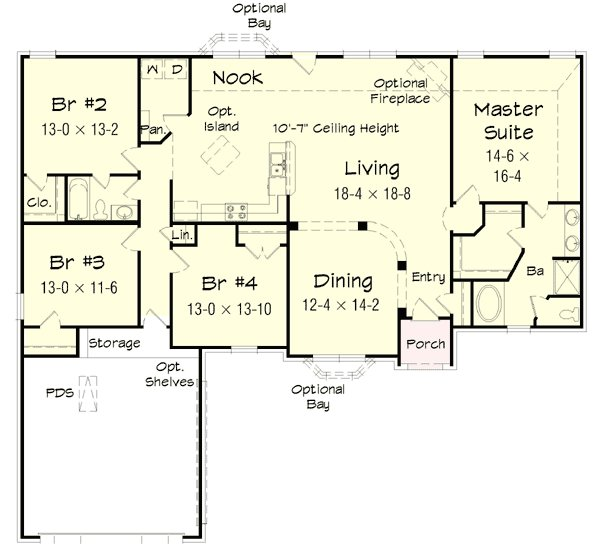 Best 4 Bedroom Brick Ranch Home Plan 68019Hr Architectural With Pictures