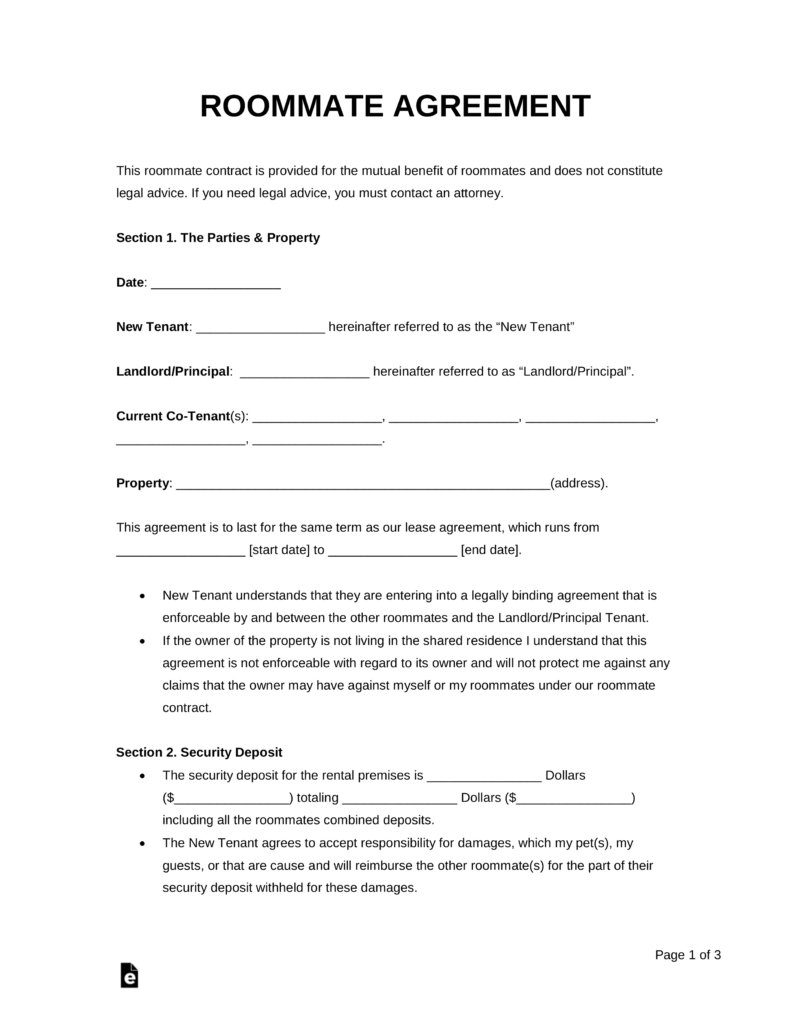 Best Free Roommate Room Rental Agreement Template Pdf With Pictures