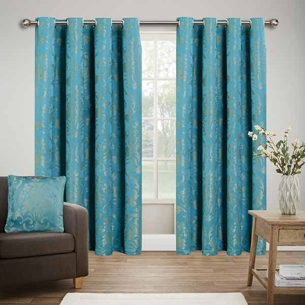 Best Ready Made Jacquard Eyelet Teal Bedroom Curtains With Pictures