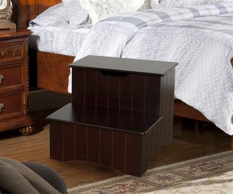 Best Kings Brand Large Cherry Finish Wood Bedroom Step Stool With Pictures