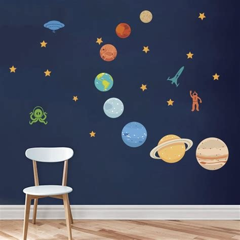 Best Amazon Com Decalmile Outer Space Wall Decals Planets Rocket Spaceship Robot Alien And Astronaut With Pictures