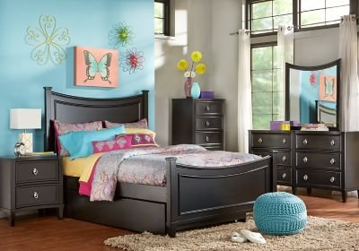 Best Jaclyn Place Black 5 Pc Twin Panel Bedroom T**N Bedroom Sets Colors With Pictures