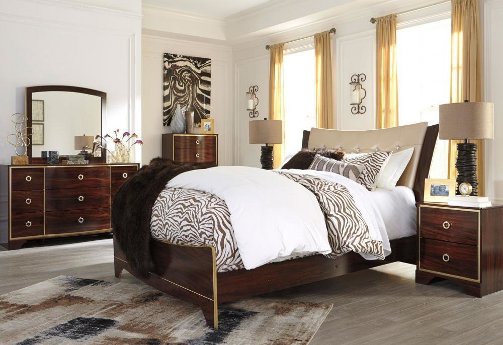 Best Aldo 5 Pieces Modern Mahogany Brown Bedroom Set Furniture With Pictures