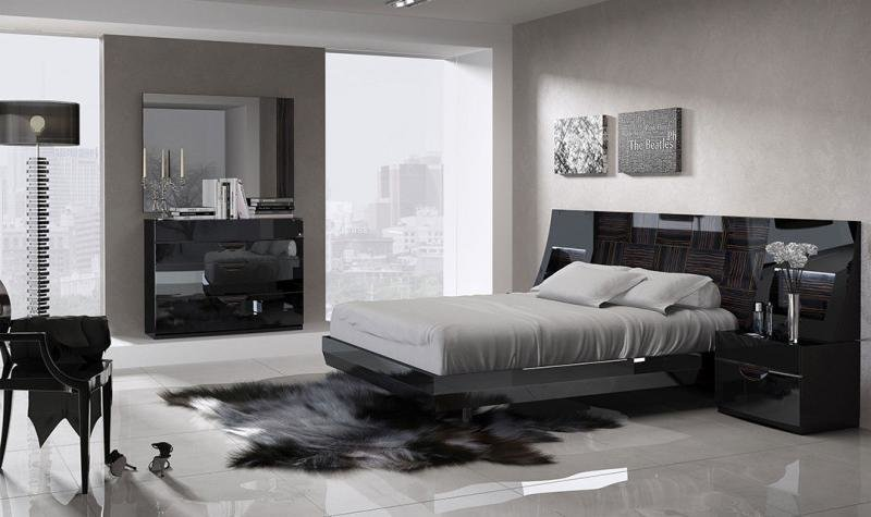 Best Esf Marbella Modern Black Wood Grain Lacquer Queen Size Bedroom Set 5Pcs Ebay With Pictures