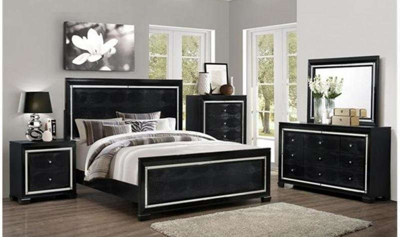 Best Modern Black Finish Solid Wood Queen Size Bedroom Set 3Pc With Pictures