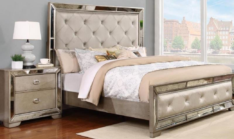 Best Diamond Tufted Headboard King Panel Bedroom Set 2Pcs Myco With Pictures