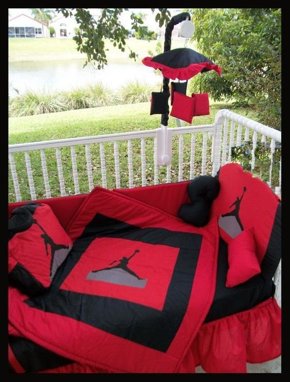 Best New Custom Made Michael Jordan Jumpman Crib Bedding Set With Pictures