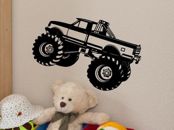 Best Monster Truck Wall Decal Monster Truck Wall Decor Kids Bedroom With Pictures