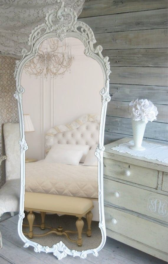 Best French Provencal Leaning Mirror Vintage Shabby Chic Cottage With Pictures