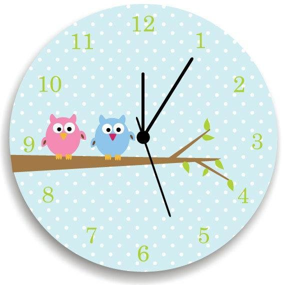 Best Girls Bedroom Wall Clock Owls On Tree Nursery Room Decor With Pictures