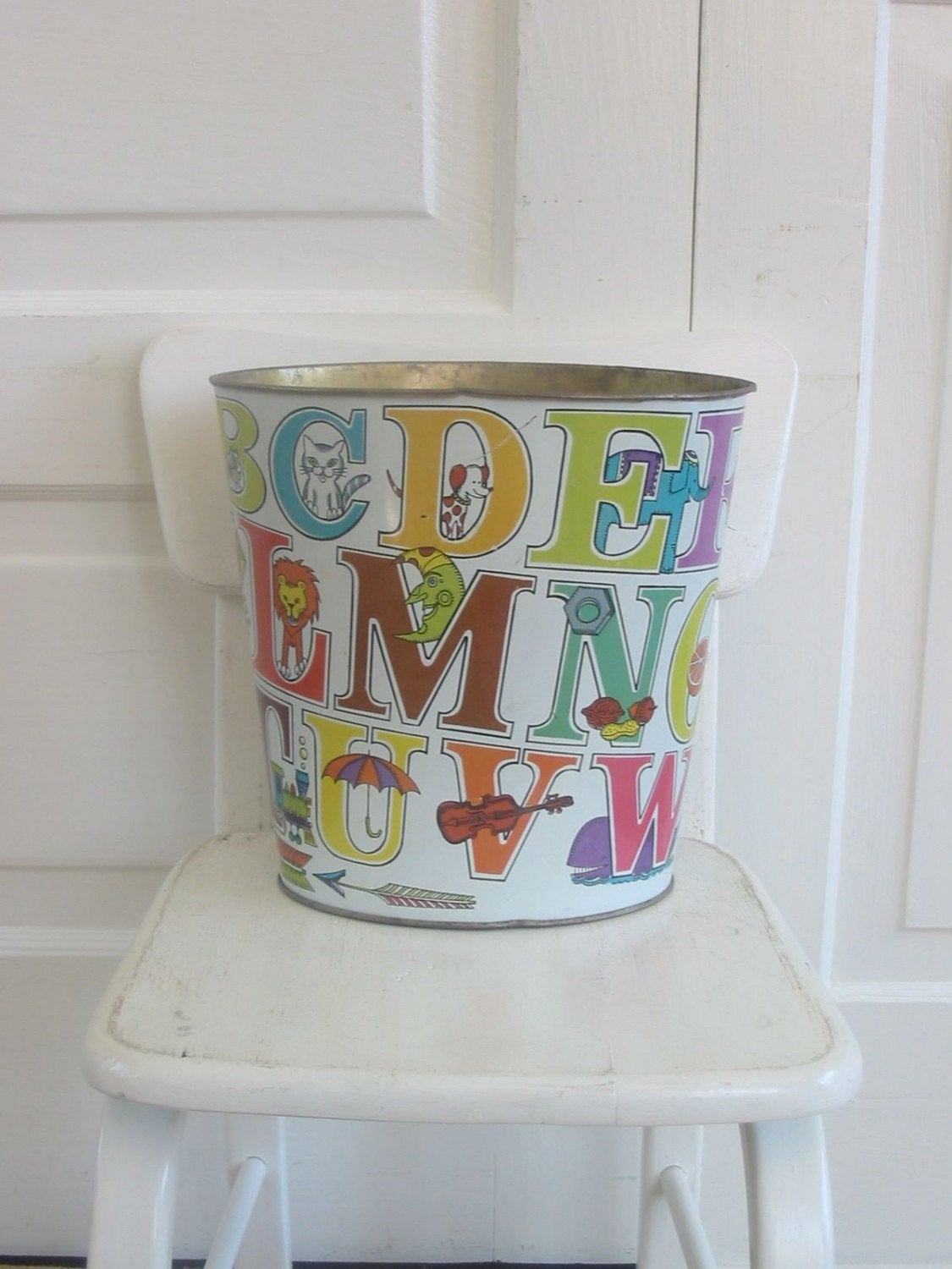 Best Vintage Metal Child Trash Can Nursery Bedroom Letters Alphabet With Pictures