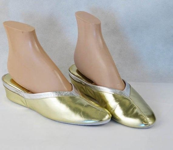 Best Nos Bedroom Slippers Gold And Silver Wedge Heel Mules Shoes By With Pictures