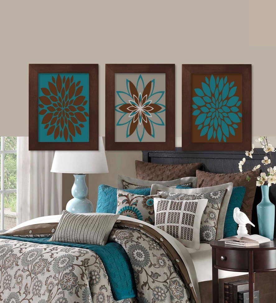 Best Wall Art Teal Brown Dahlia Flower Bloom By Lovelyfacedesigns With Pictures