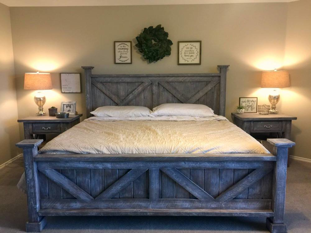 Best Rustic King Bedroom Set Farmhouse Style King Bed Night With Pictures