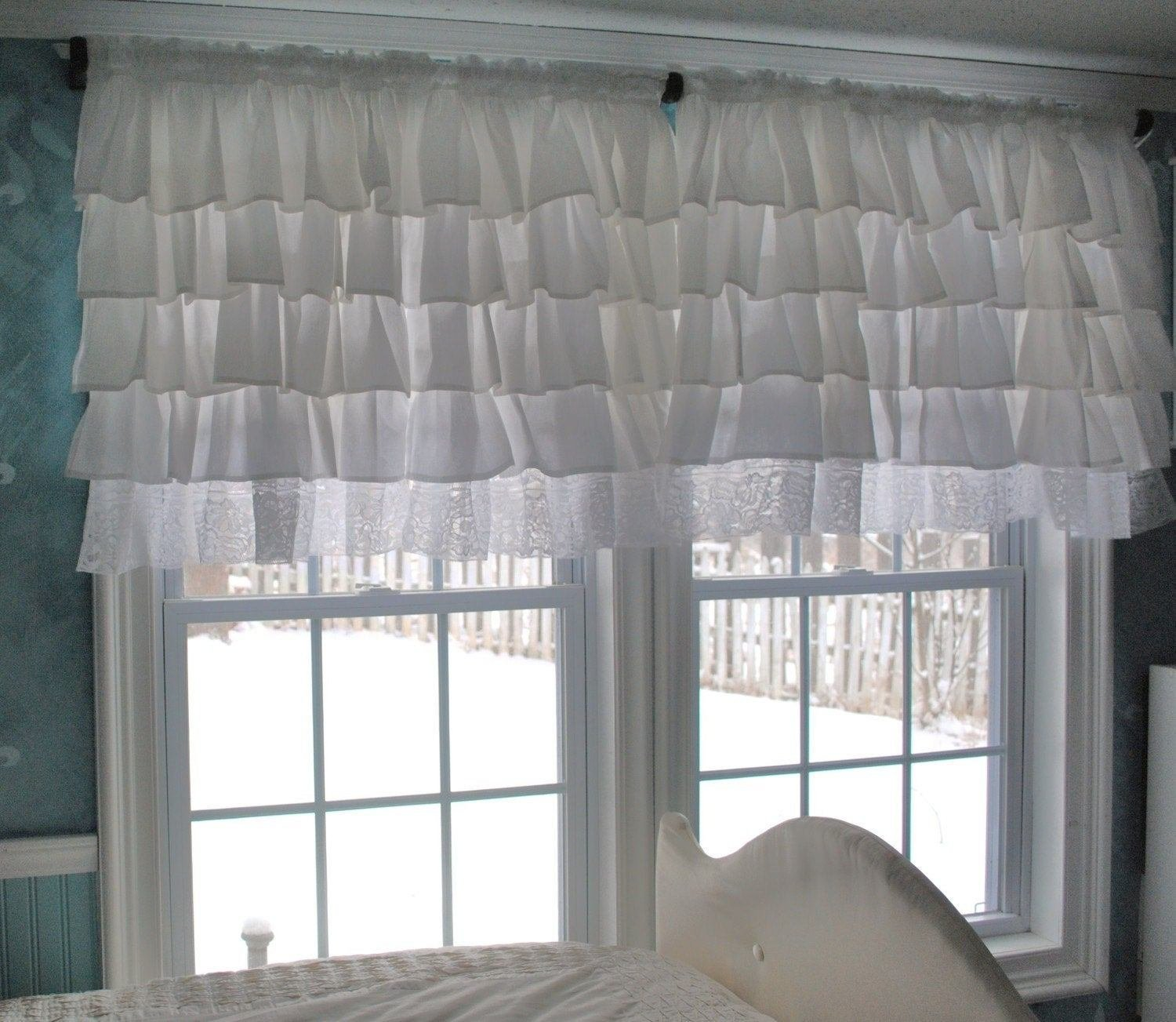 Best White Ruffle Curtain With Lace Trim With Pictures