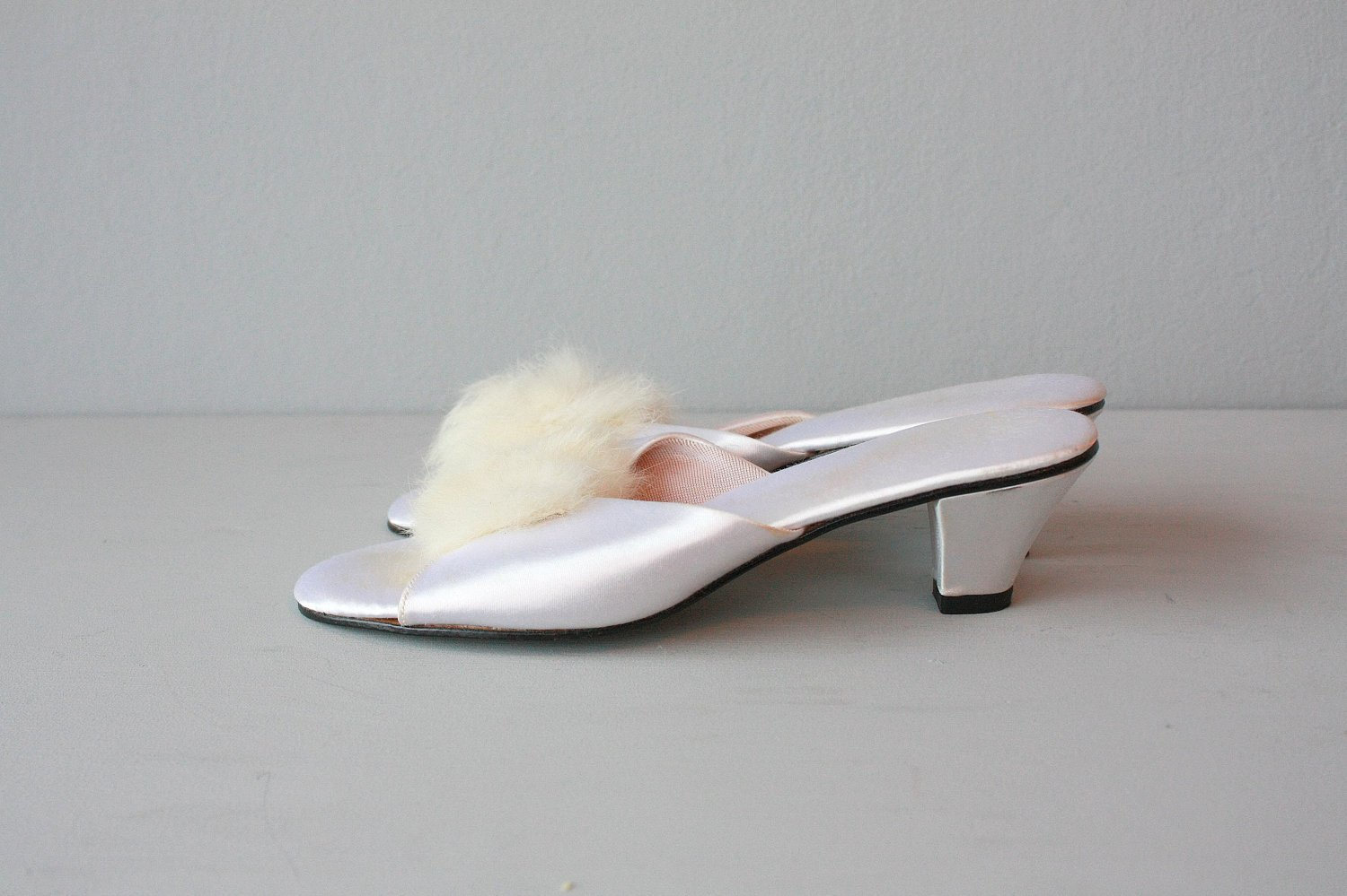 Best Bedroom Slippers Boudoir Slippers White Satin Heels Fur With Pictures
