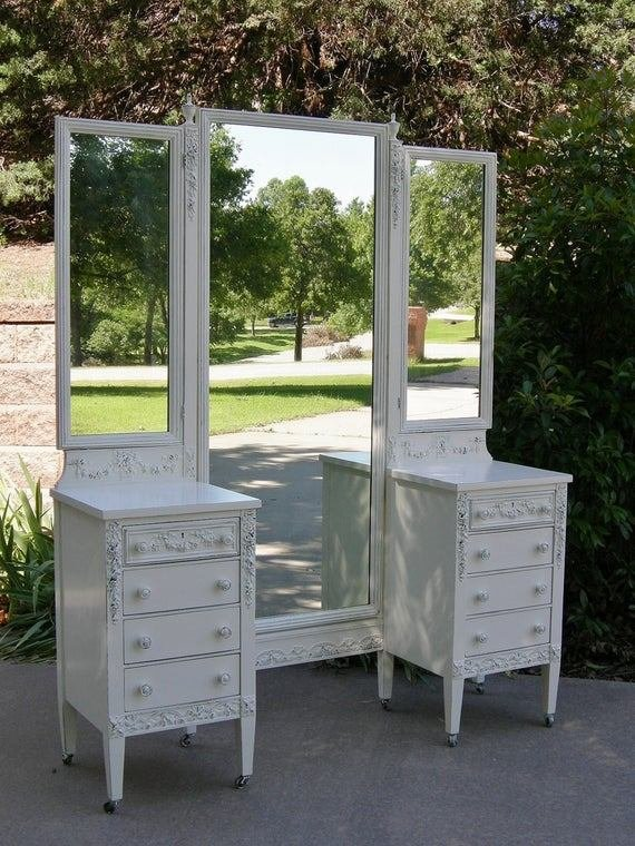 Best On Sale Antique Vanity Shabby White Painted Chic Roses With Pictures