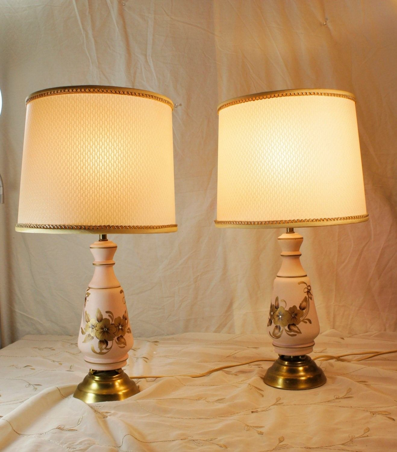 Best Pair Pink And Gold Bedroom Lamps With Shades Flowers By With Pictures