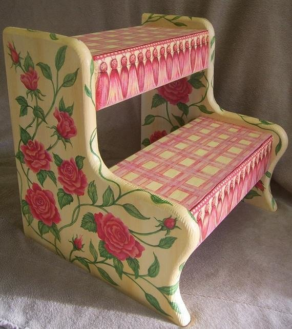 Best Children S Step Stool Hand Painted Furniture Vintage With Pictures
