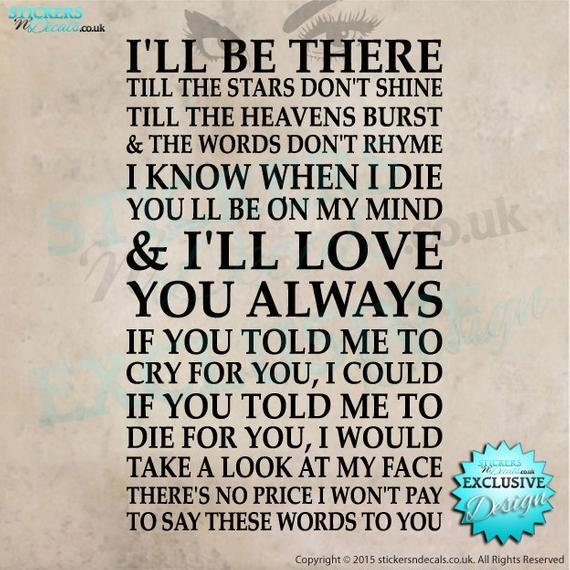 Best Bon Jovi Always Lyrics Vinyl Wall Art Wall By With Pictures